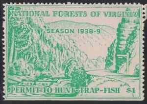 Virginia VA Hunting National Forest Permit to Hunt Trap 1 1938 9 Resident $1.00