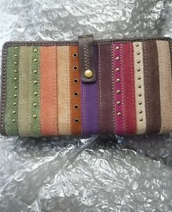 FOSSIL WOMEN'S LEATHER TAB CLUTCH ENVELOPE WALLET MULTICOLOR NWOT
