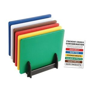 Hygiplas J258 6 x Colour coded Standard Low Density Chopping Board Set with Rack