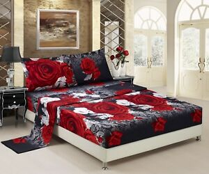 HIG 3D Sheet set 4 Pieces Red And White Rose Promise Reactive Print Sheet Sets