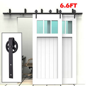 6 6.6 8FT Steel Double Sliding Barn Wood Door Rollers Hardware Track Kit Closet