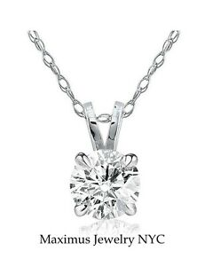 13 ct Round Solitaire Natural Diamond Pendant With Necklace 14K White Gold