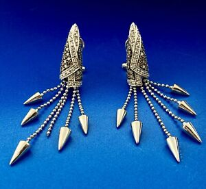 18K White Gold Champagne White Diamond Modernist Conical Drop Earrings