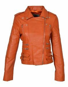 Womens Real Leather Biker Style Jacket Trendy Girls Fitted Zipped Yellow Red