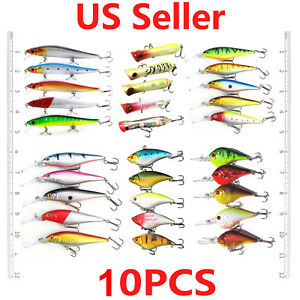 USA 510PCS Kinds of Fishing Lures Crankbait Hooks Hard Bass Minnow Baits Tackle