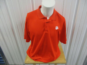 UNDER ARMOUR CLEMSON TIGERS LARGE SEWN ORANGE POLO SHIRT HEAT GEAR PRE-OWNED