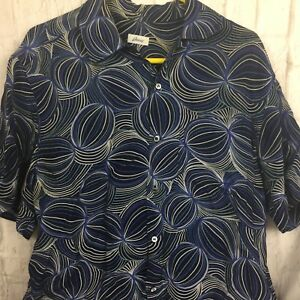Mens M Brioni Blue Black White Swirls Designer Shirt Rayon Made in Italy