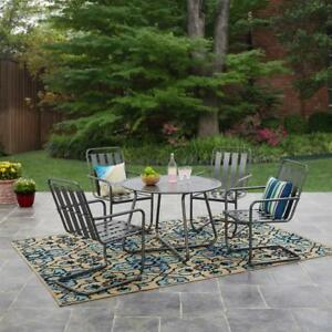 5 Piece Patio Dining Set Weather Resistant Powder Coating Monochromatic Backyard