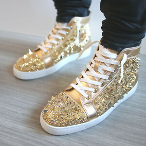 $4195 BNIB RARE LOUBOUTIN STRASS PIK PIK GOLD SNEAKERS TRAINERS- Size 42 US 9