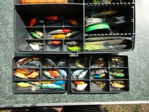 Plano Tackle Box full of Bass lure 's Spinnerbaits Buzz baits Crankbaits NOS