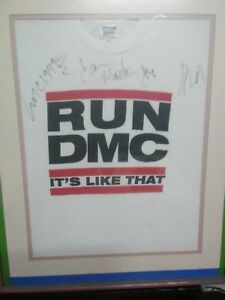RUN DMC BY ALL 3 W JAM MASTER JAY RAP SIGNED AUTOGRAPHED T-SHIrt