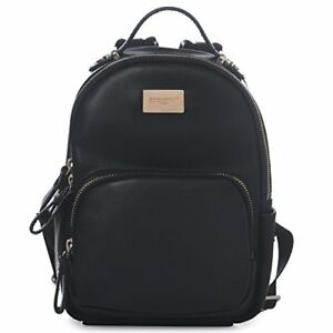 DAVIDJONES Women's Faux Leather Mini Small Shoulder Travel Bag Backpack (Black)