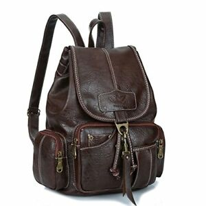 Womens New Fashion Backpack Vintage Style Waterproof Leather (Dark Brown)