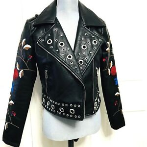 Romeo + Juliet Couture Embroided Moto Black Jacket Womens S or M Faux Leather