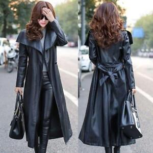 Black Leather Trench Coat Women's Genuine Lambskin Winter Long Overcoat Jacket