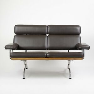 2007 Eames Herman Miller Two Seater Sofa Walnut and Brown Leather