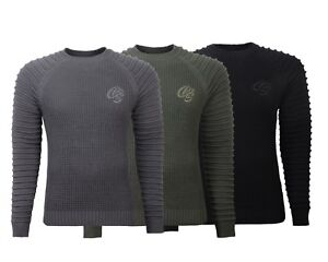 Mens Crosshatch Jumper Knitwear Sweater Top Pullover Knitted Crew Neck Jacket