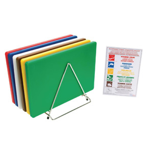 6 x Hygiplas Thick Low Density Chopping Board Set with Rack Chart 20Hx455Wx305Lm