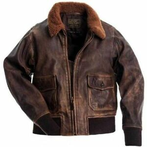 Aviator G-1 Flight Distressed Brown Fur Collar Bomber Pilot Real Leather Jacket