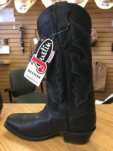 Justin Brand Mens Western Black Boots Sz 9D 10 12 D 9EE11EE Leather