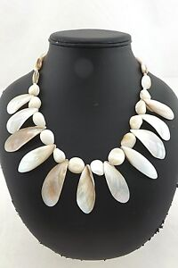 Vintage Estate Lustrous Mother of Pearl MOP Leaf Drop Bead Statement Necklace