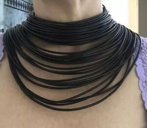 Akris Leather Masai  Collar Necklace Black