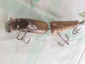 Antique Lure Pike Minnow Wood Glass Eyes unmarked 3 hooks 55''- 6'' long rare