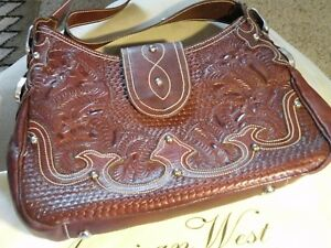 NEW American West Brown Hand Tooled Leather Bag