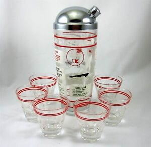 Cocktail Shaker & 6 Glasses Mixer Vtg 1960s Mid Century Sports Martini Daiquiri