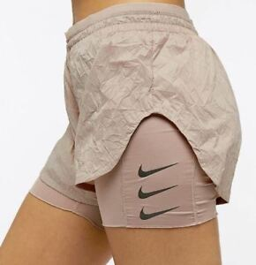 Nike M Women's FLEX ELEVATE  2-in-1 Running Shorts NEW AJ4197 229 Diffused Taupe