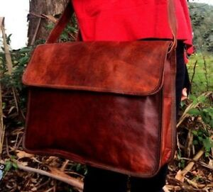Men's Leather Messenger Bag Satchel Business Briefcase Laptop Bags Handmade