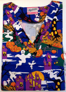 ALL HALLOWS EVE HALLOWEEN Printed Nurse Scrub Top  S  SMALL Nursing Scrubs