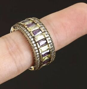 Antique Vintage 925 Silver Topaz and Amethyst Ring. Gorgeous!