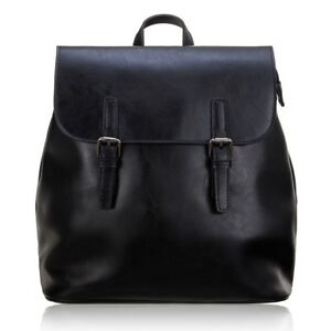 Women's Small Leather Backpack Bag Travelling Bag with Vintage Design-Black