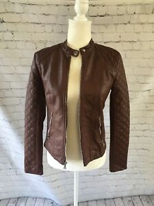 Express Woman Moto Biker Jacket Faux Leather Band Collar Long Sleeve Brown Sz S