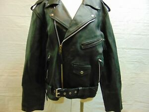 Mens size 40 Black Heavy Duty Leather Belted Moto Motorcycle Racing Jacket Coat