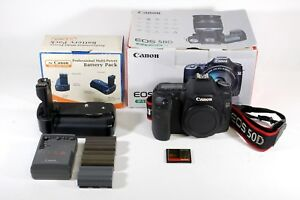 Canon 50D DSLR Camera with Battery Pack and Accessories black slr photography