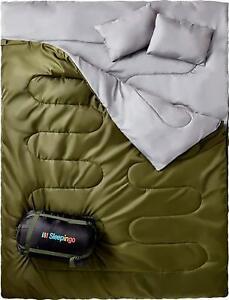 Double Sleeping Bag Queen Size XL Backpacking Camping Hiking Gear Travel Gear