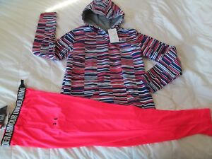 NEW Girls UNDER ARMOUR COLDGEAR BluPnkWStriped Hoodie+Pink Pants YLG FREE SHIP