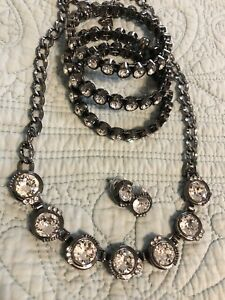 Silpada K&R Glamour Necklace Earrings and 3 bracelets