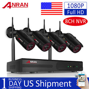 ANRAN 1080P 4CH Home Security WIFI Cameras System Wireless Outdoor 1TB HDD CCTV