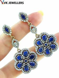 TURKISH OTTOMAN HANDMADE JEWELRY 925 STERLING SILVER SAPPHIRE EARRINGS E3092