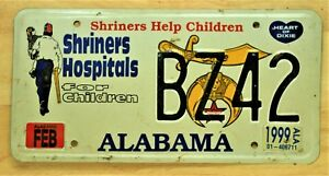 1999 quot;SHRINERS HOSPITALS FOR CHILDRENquot; ALABAMA LICENSE PLATE VEHICLE TAG 976