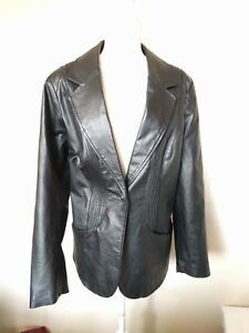 Denim &Co Women's 1X Black One Button Genuine Leather Jacket