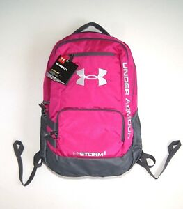 Backpack Under Armour UA Hustle II Storm1 waterproof Pink gray sport nylon