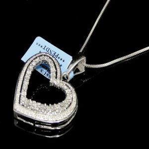 Ladies New 14k White Gold Tone Genuine Real Diamond Heart Pendant Necklace Chain
