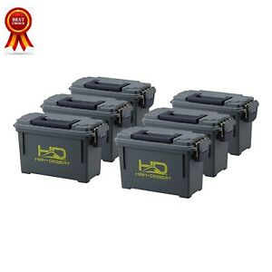 6 Pack 30 Cal Ammo Can Dry Box Plastic Ammunition Gear Storage Container Case