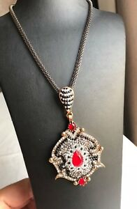Handmade Turkish Pendant Necklace Ruby Sterling Silver Medallion Necklace