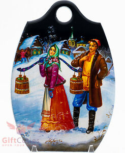 Wooden cheese cutting board Souvenir Russian village peasant girl shoulder yoke