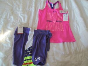 NEW Girls 2Pc UNDER ARMOUR OUTFIT Purple Shorts+Pink Tank Top YLG FREE SHIP